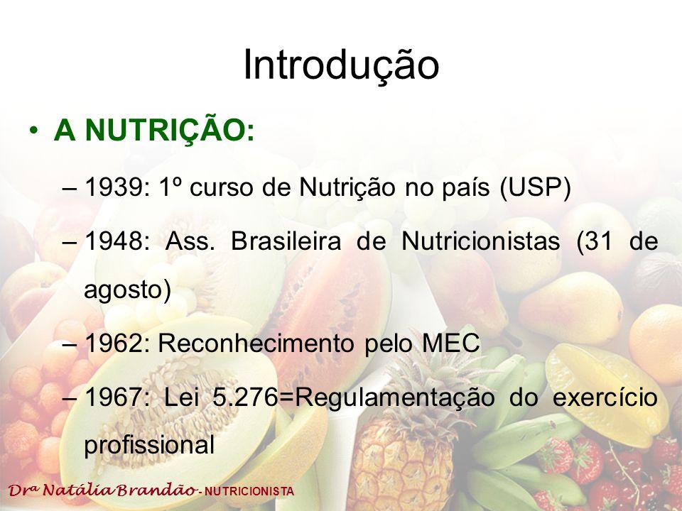 Introdução A NUTRIÇÃO: 1939: 1º curso de Nutrição no país (USP)