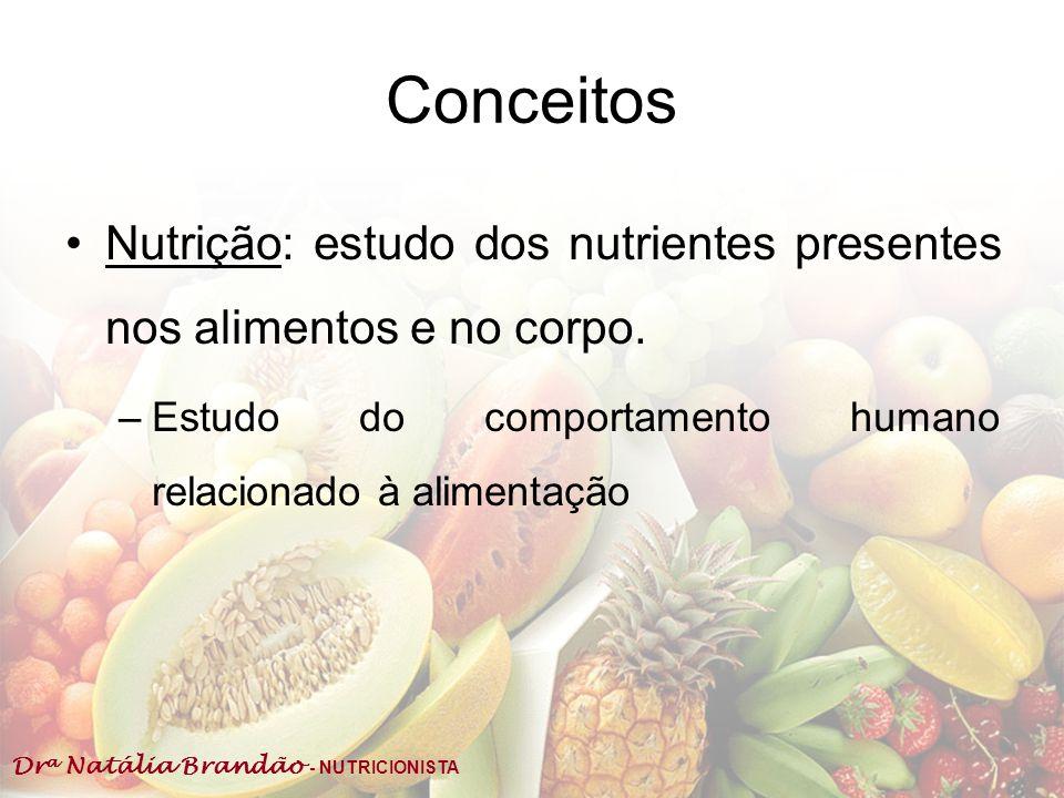 Conceitos Nutrição: estudo dos nutrientes presentes nos alimentos e no corpo.