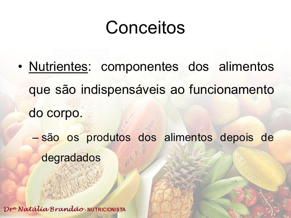Conceitos Nutrientes: componentes dos alimentos que são indispensáveis ao funcionamento do corpo.