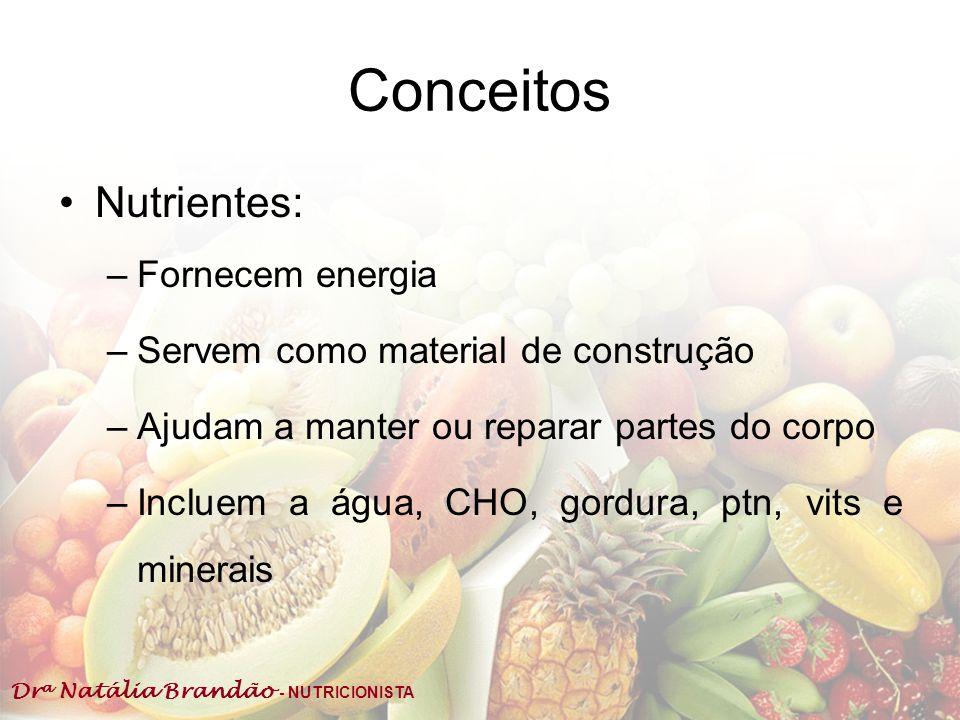 Conceitos Nutrientes: Fornecem energia