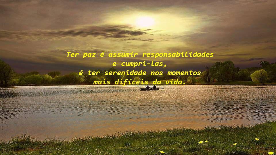 Ter paz é assumir responsabilidades é ter serenidade nos momentos