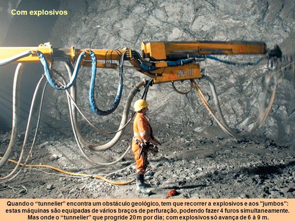 Com explosivos Quando o tunnelier encontra um obstáculo geológico, tem que recorrer a explosivos e aos jumbos :