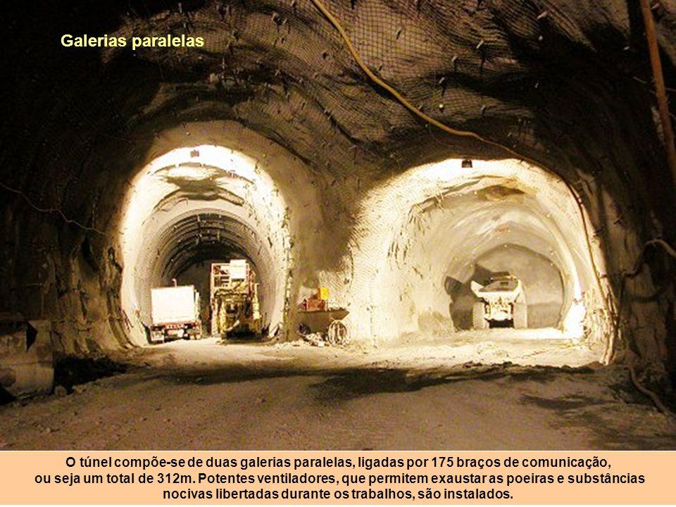 Galerias paralelas O túnel compõe-se de duas galerias paralelas, ligadas por 175 braços de comunicação,
