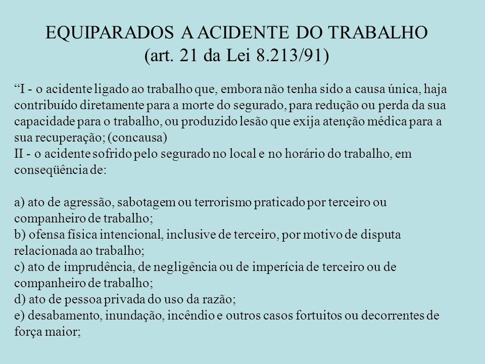 EQUIPARADOS A ACIDENTE DO TRABALHO