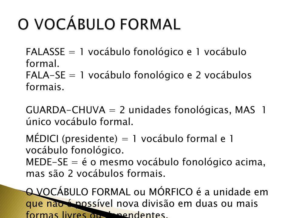 O VOCÁBULO FORMAL FALASSE = 1 vocábulo fonológico e 1 vocábulo formal. FALA-SE = 1 vocábulo fonológico e 2 vocábulos formais.