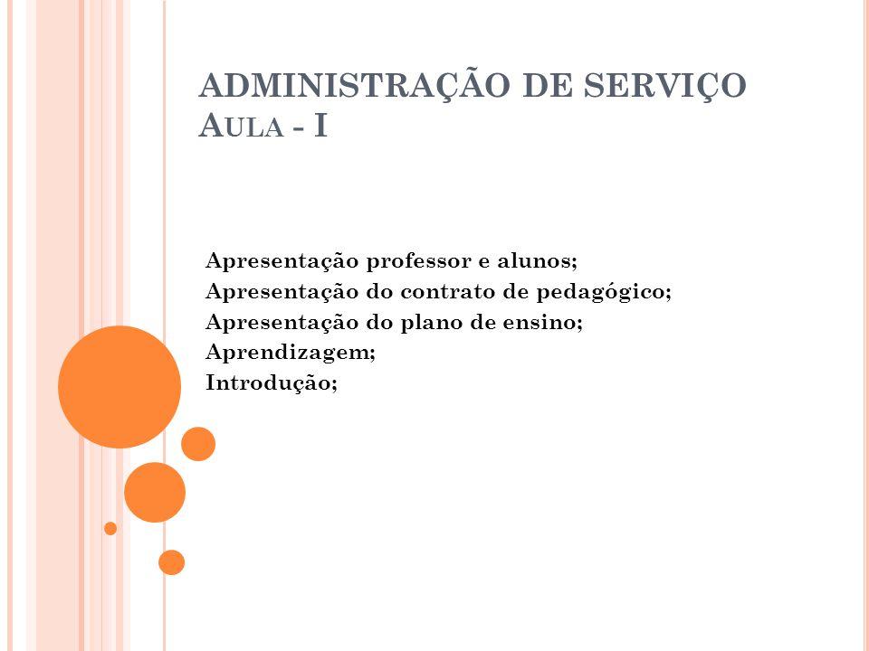 ADMINISTRAÇÃO DE SERVIÇO Aula - I