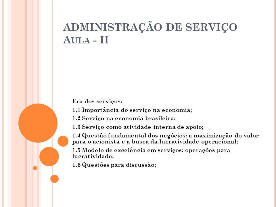 ADMINISTRAÇÃO DE SERVIÇO Aula - II