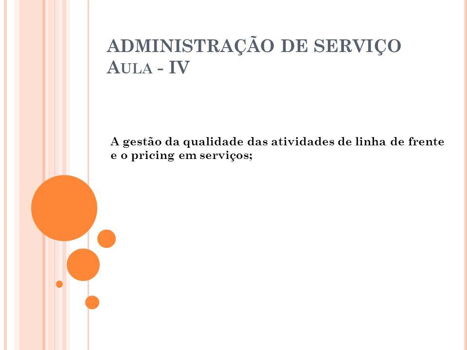 ADMINISTRAÇÃO DE SERVIÇO Aula - IV