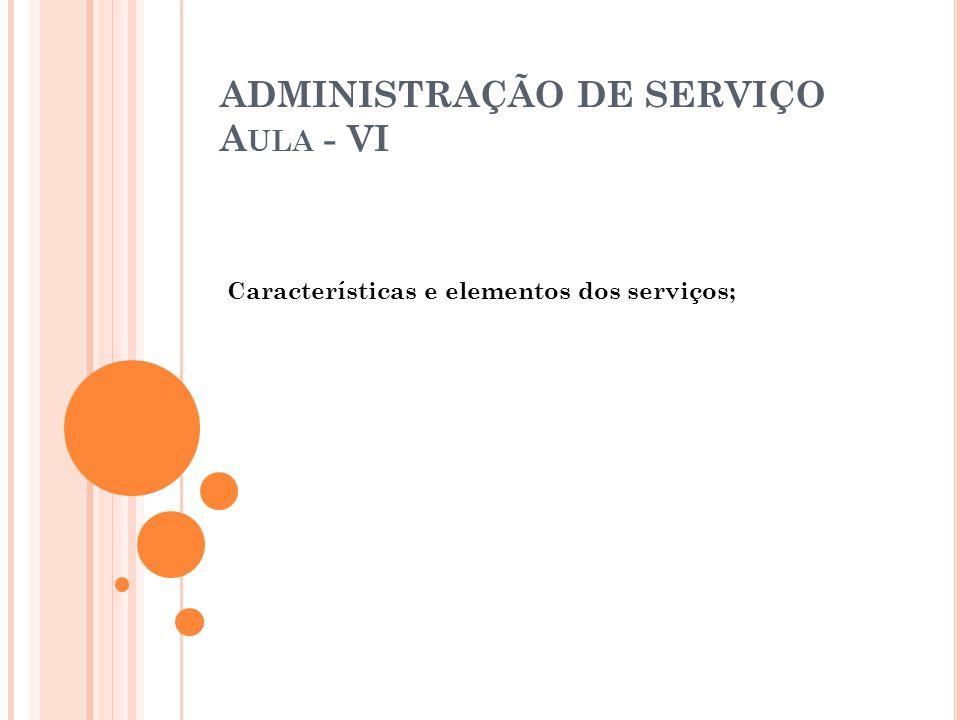 ADMINISTRAÇÃO DE SERVIÇO Aula - VI