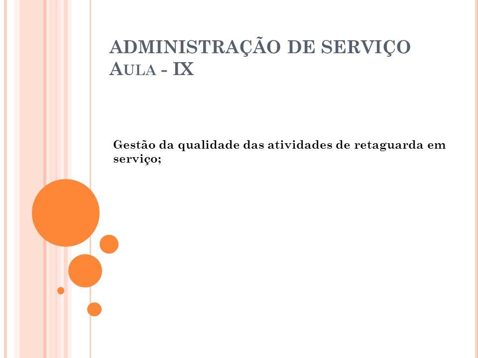ADMINISTRAÇÃO DE SERVIÇO Aula - IX