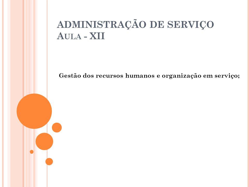 ADMINISTRAÇÃO DE SERVIÇO Aula - XII
