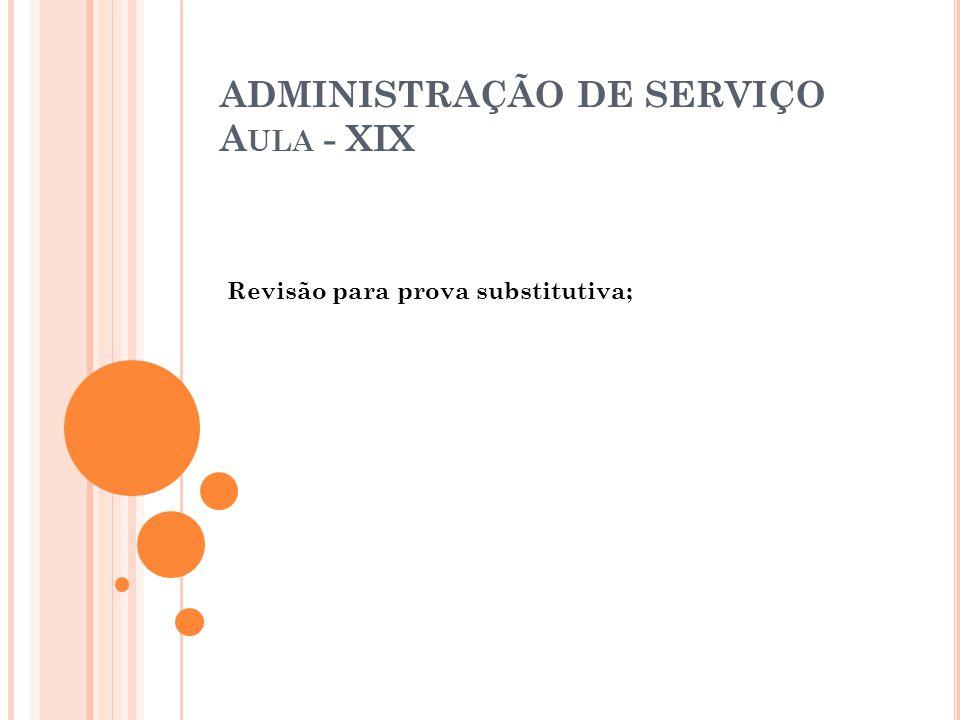 ADMINISTRAÇÃO DE SERVIÇO Aula - XIX