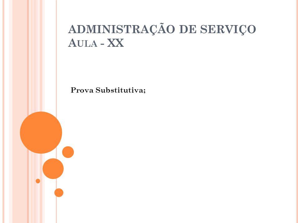 ADMINISTRAÇÃO DE SERVIÇO Aula - XX