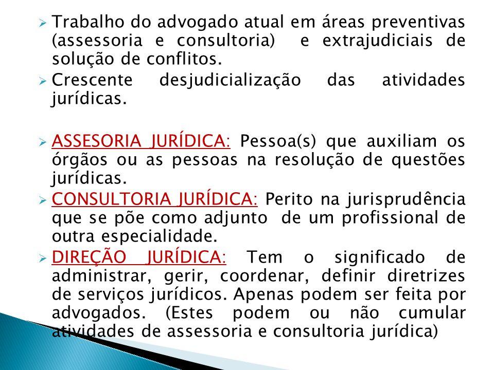 Trabalho do advogado atual em áreas preventivas (assessoria e consultoria) e extrajudiciais de solução de conflitos.