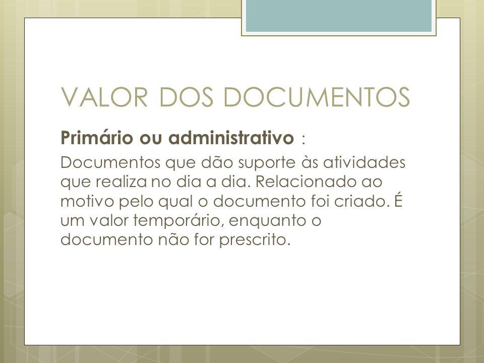 VALOR DOS DOCUMENTOS Primário ou administrativo :