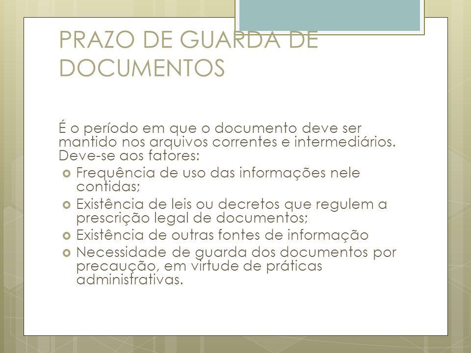 PRAZO DE GUARDA DE DOCUMENTOS