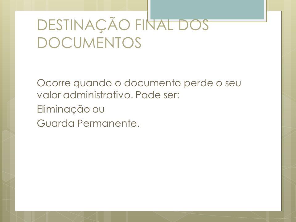 DESTINAÇÃO FINAL DOS DOCUMENTOS