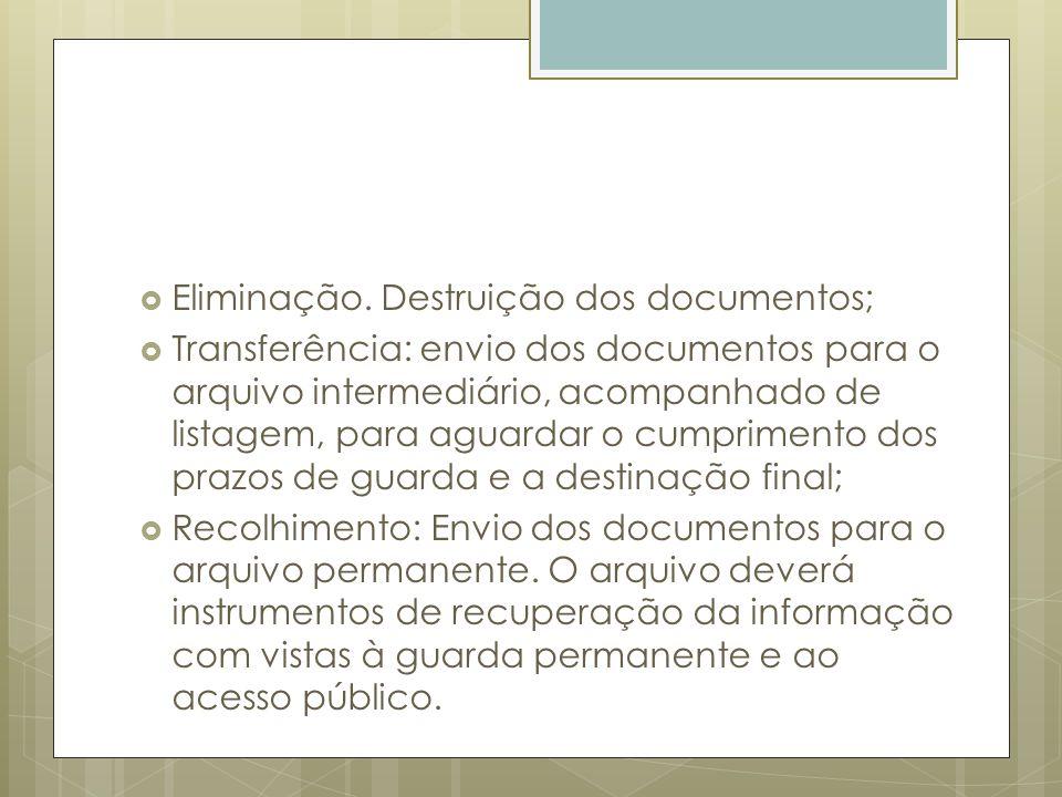 Eliminação. Destruição dos documentos;