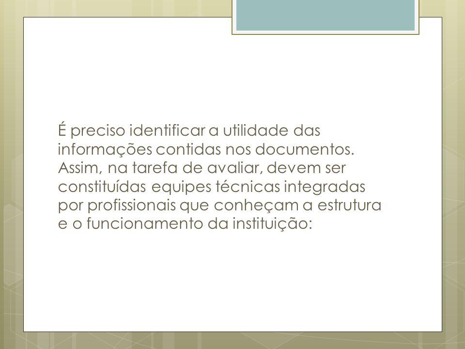 É preciso identificar a utilidade das informações contidas nos documentos.