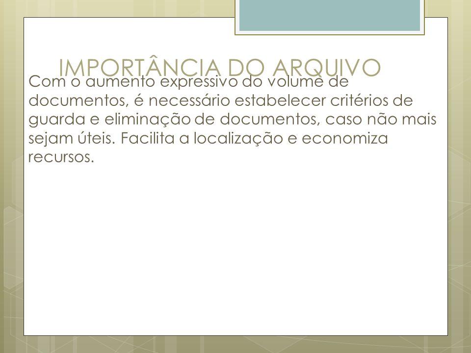 IMPORTÂNCIA DO ARQUIVO