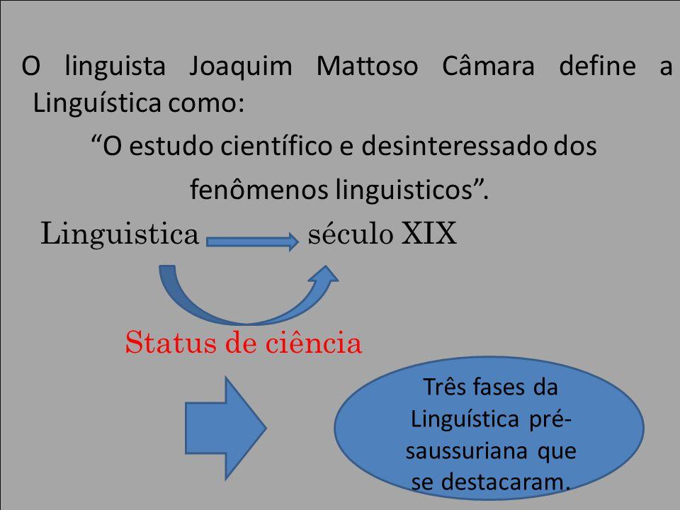 Três fases da Linguística pré-saussuriana que se destacaram.
