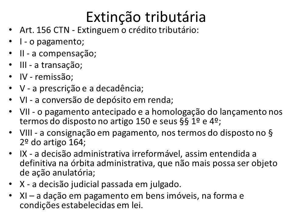 Extinção tributária Art. 156 CTN - Extinguem o crédito tributário: