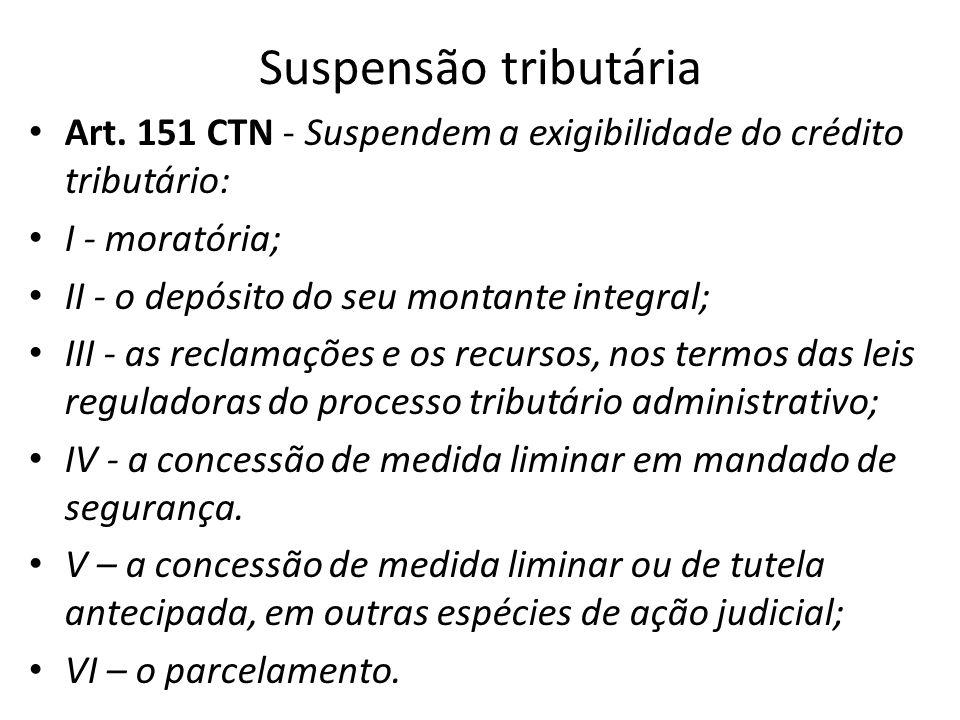 Suspensão tributária Art. 151 CTN - Suspendem a exigibilidade do crédito tributário: I - moratória;