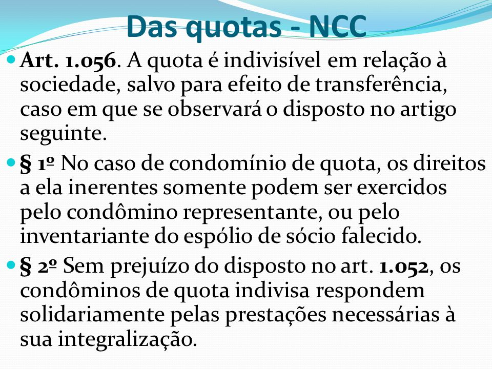 Das quotas - NCC