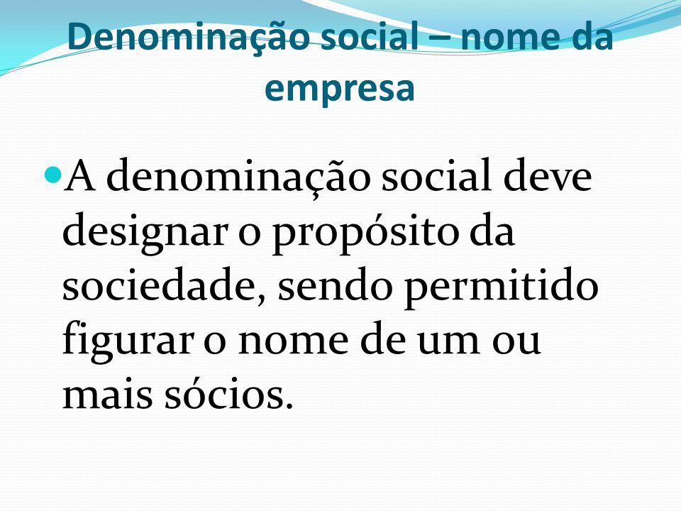 Denominação social – nome da empresa