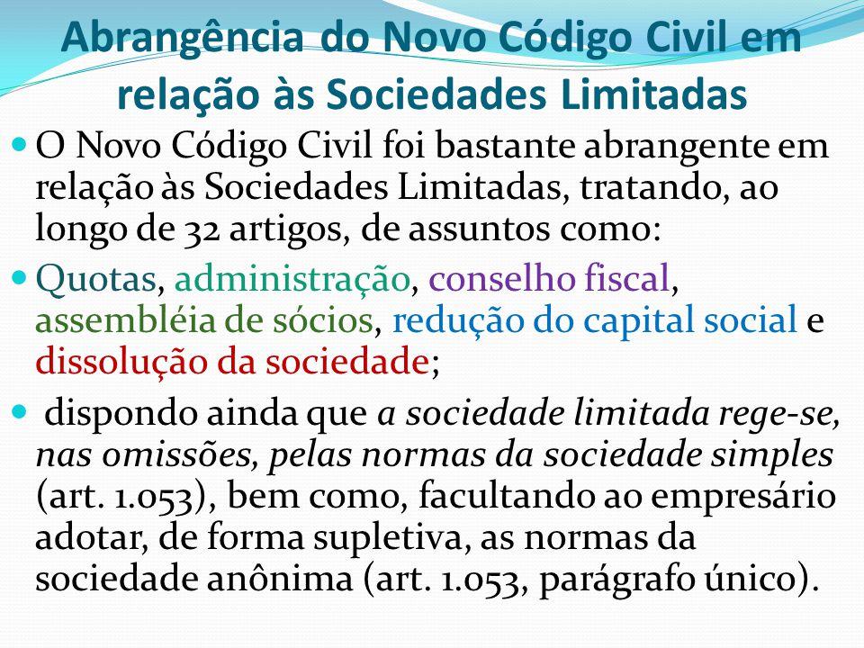 Abrangência do Novo Código Civil em relação às Sociedades Limitadas