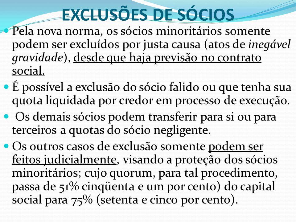 EXCLUSÕES DE SÓCIOS