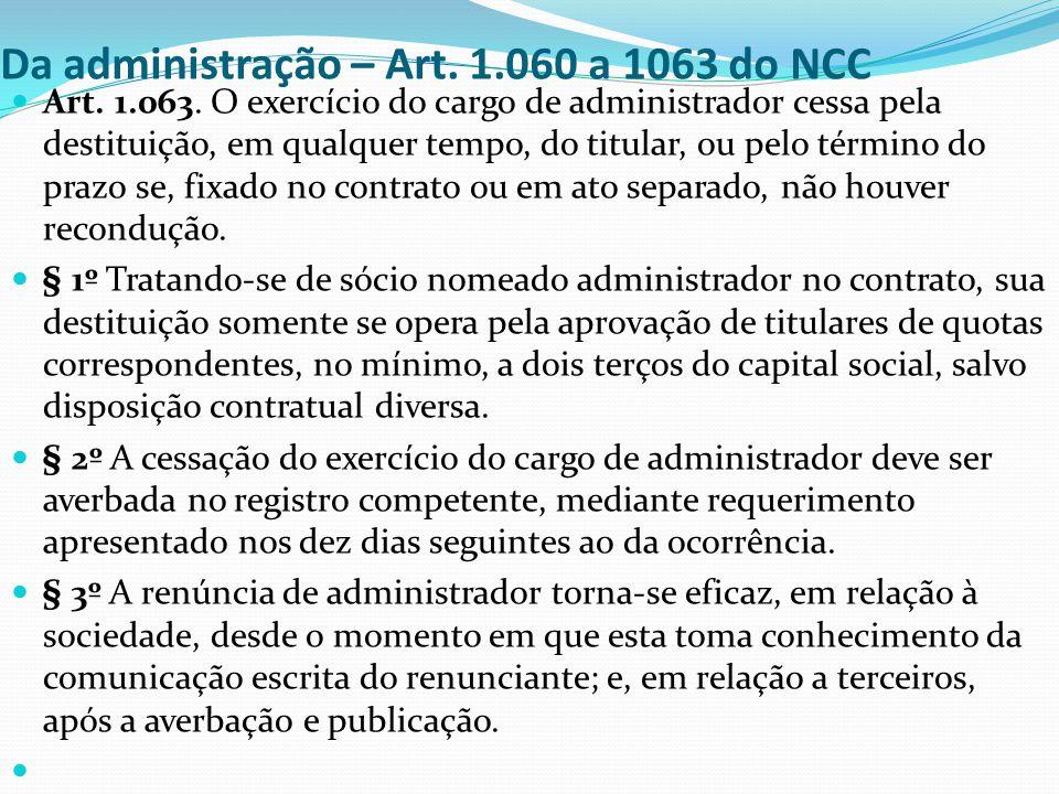 Da administração – Art. 1.060 a 1063 do NCC