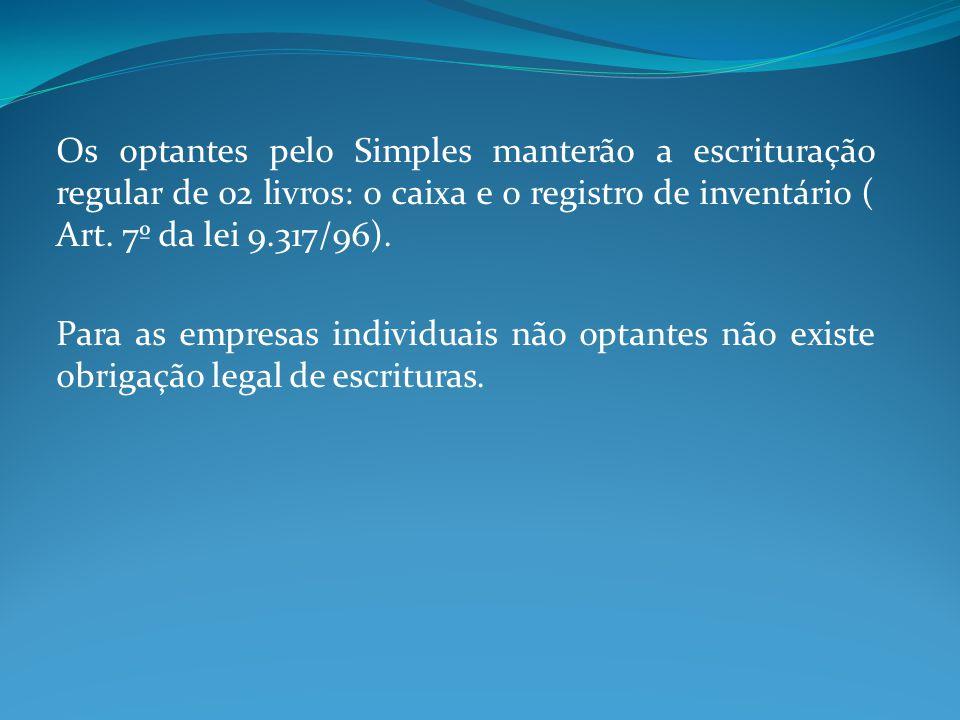 Os optantes pelo Simples manterão a escrituração regular de 02 livros: o caixa e o registro de inventário ( Art. 7º da lei 9.317/96).