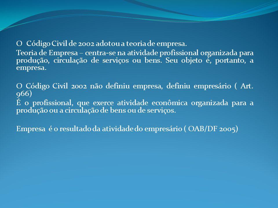 O Código Civil de 2002 adotou a teoria de empresa.
