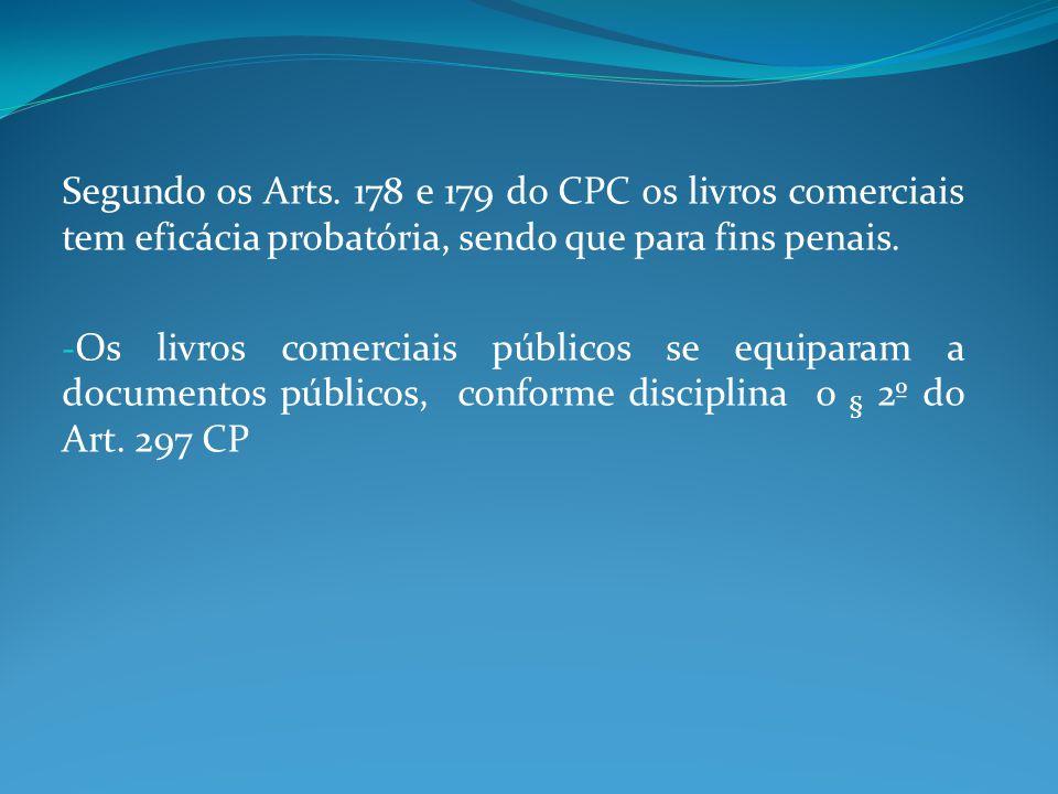 Segundo os Arts. 178 e 179 do CPC os livros comerciais tem eficácia probatória, sendo que para fins penais.