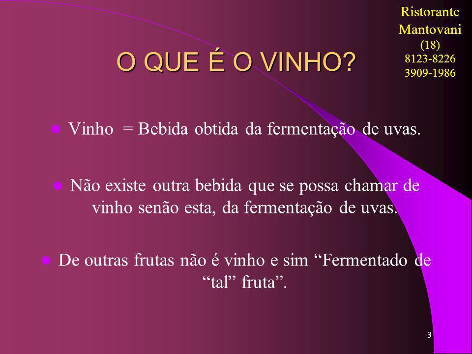 O QUE É O VINHO Vinho = Bebida obtida da fermentação de uvas.