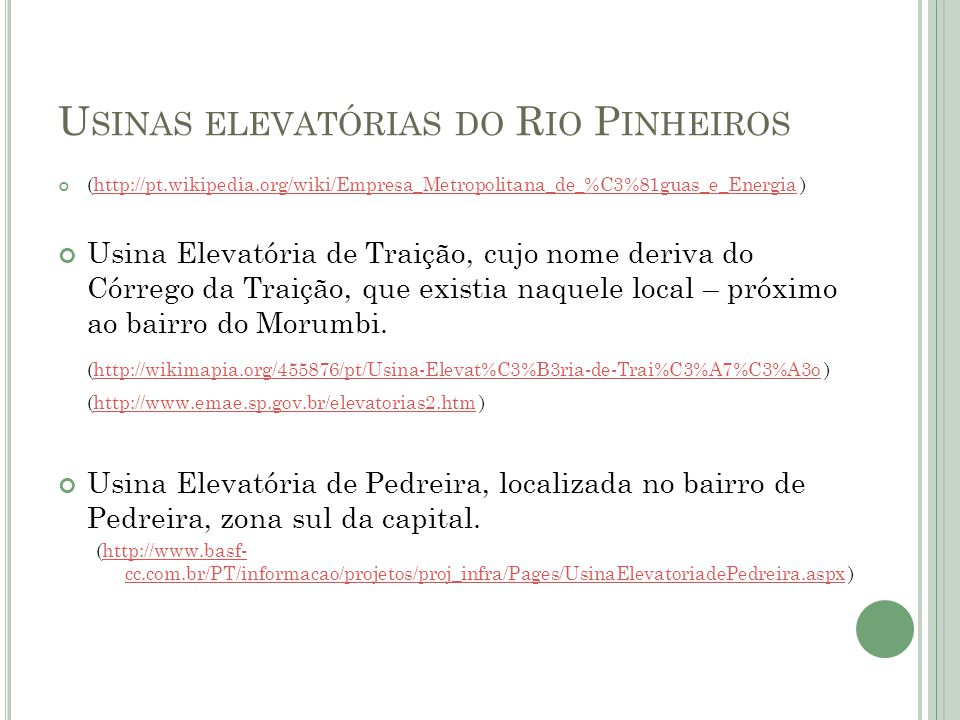 Usinas elevatórias do Rio Pinheiros