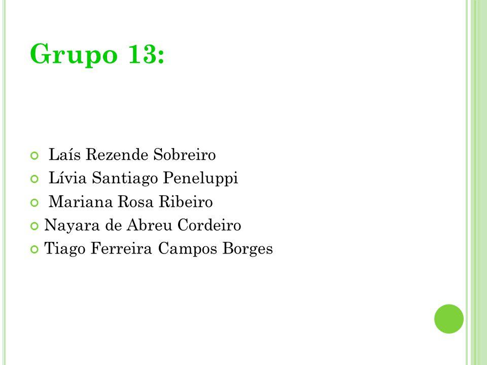 Grupo 13: Laís Rezende Sobreiro Lívia Santiago Peneluppi