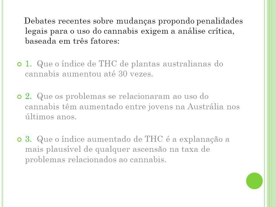 Debates recentes sobre mudanças propondo penalidades legais para o uso do cannabis exigem a análise crítica, baseada em três fatores: