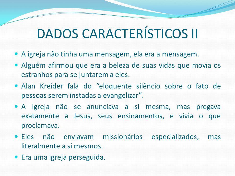 DADOS CARACTERÍSTICOS II