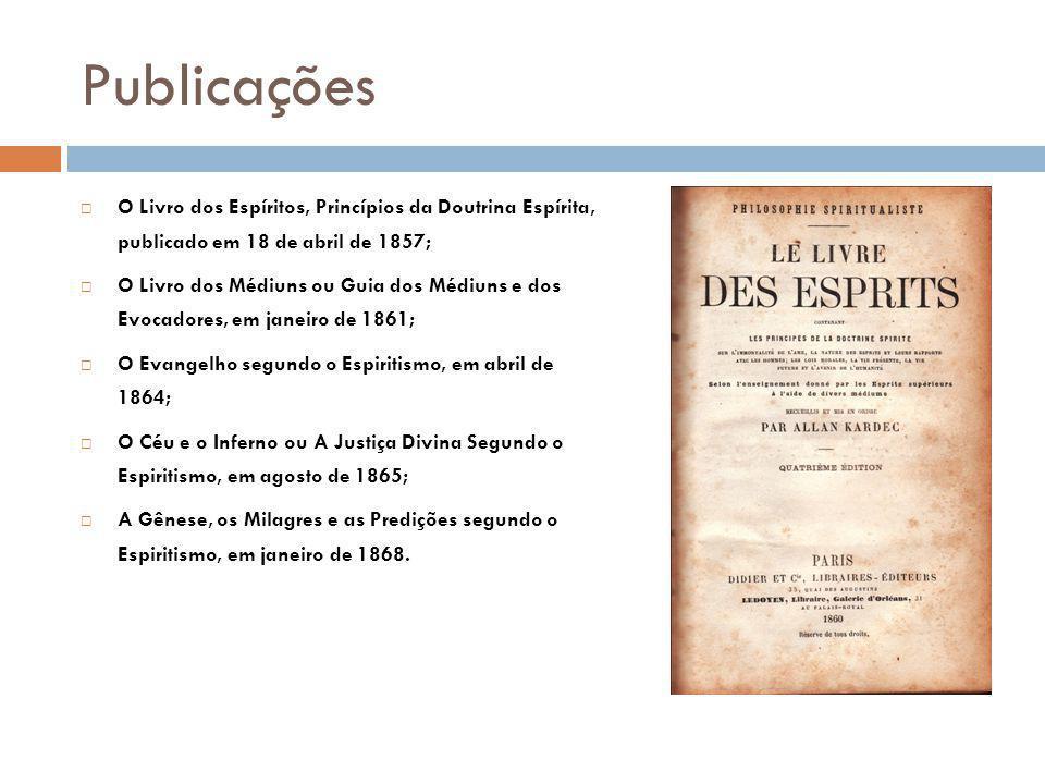Publicações O Livro dos Espíritos, Princípios da Doutrina Espírita, publicado em 18 de abril de 1857;