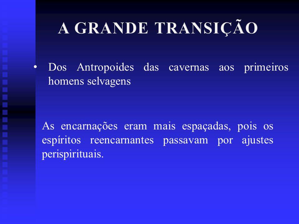 A GRANDE TRANSIÇÃO Dos Antropoides das cavernas aos primeiros homens selvagens.