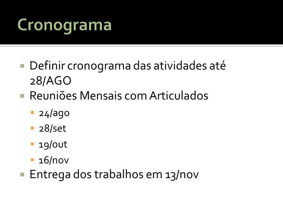 Cronograma Definir cronograma das atividades até 28/AGO