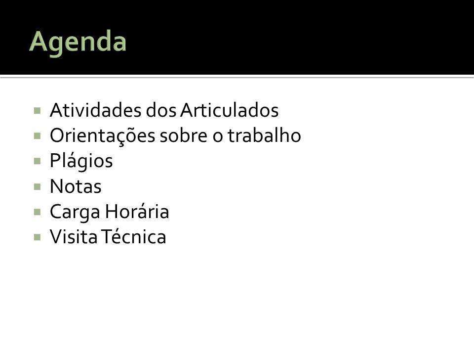 Agenda Atividades dos Articulados Orientações sobre o trabalho Plágios