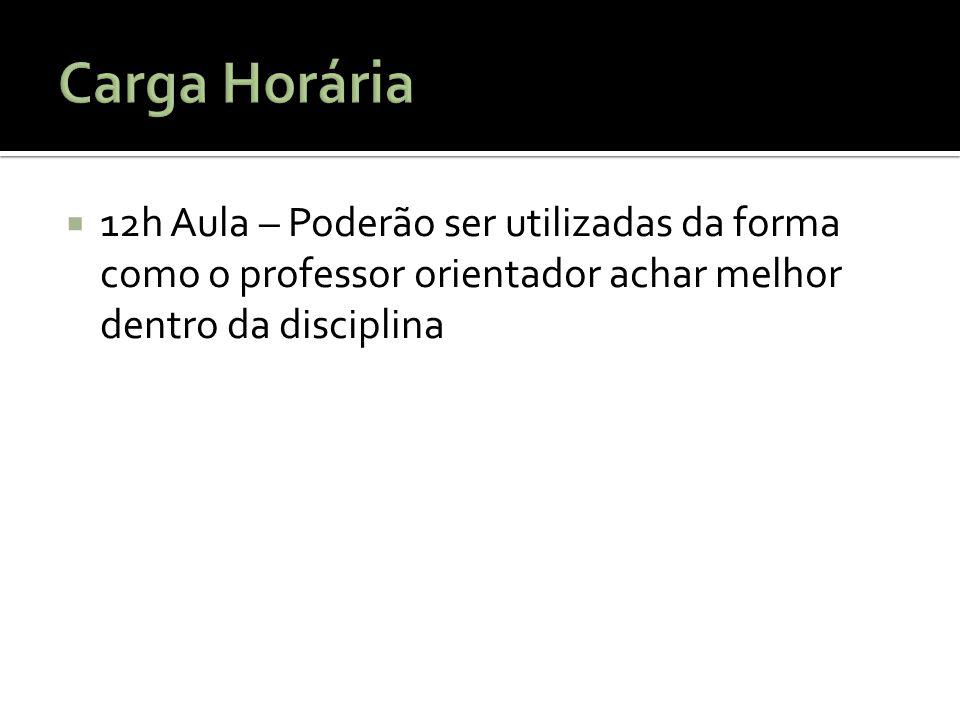 Carga Horária 12h Aula – Poderão ser utilizadas da forma como o professor orientador achar melhor dentro da disciplina.