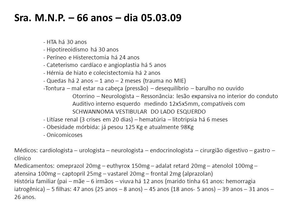 Sra. M.N.P. – 66 anos – dia 05.03.09 - HTA há 30 anos