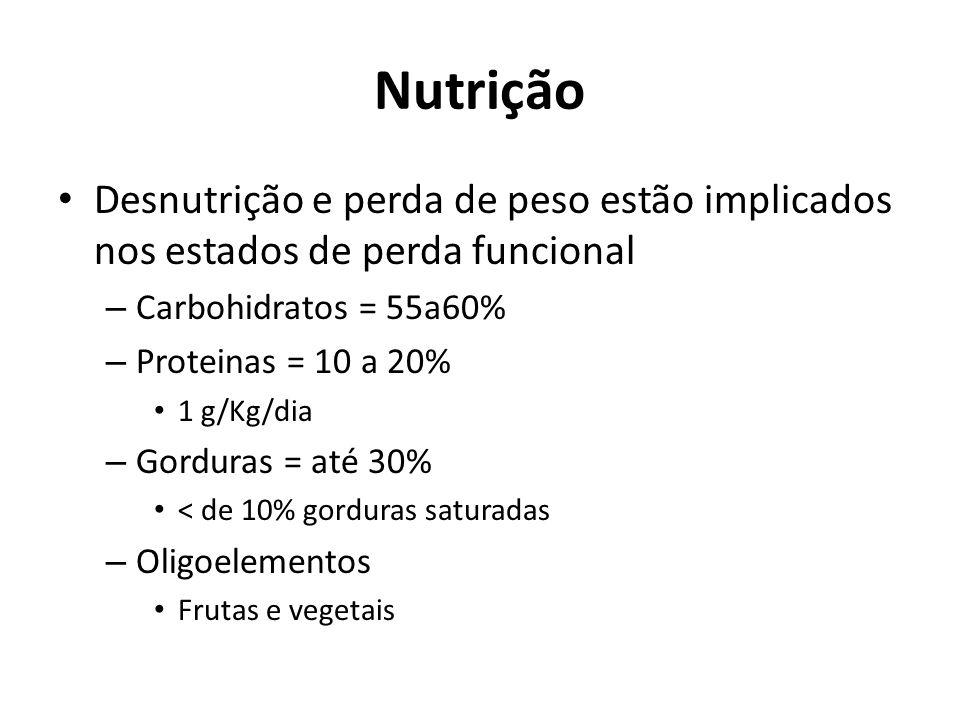 Nutrição Desnutrição e perda de peso estão implicados nos estados de perda funcional. Carbohidratos = 55a60%