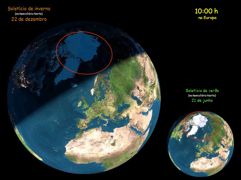 10:00 h Solstício de inverno 22 de dezembro na Europa