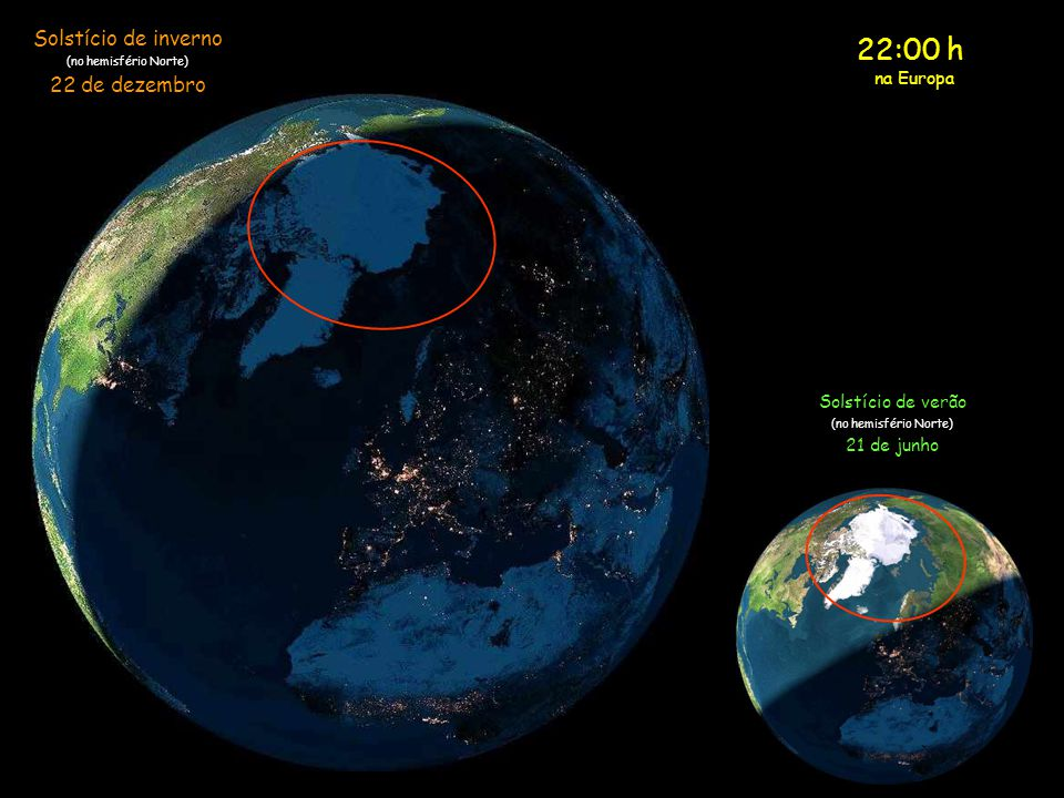 22:00 h Solstício de inverno 22 de dezembro na Europa