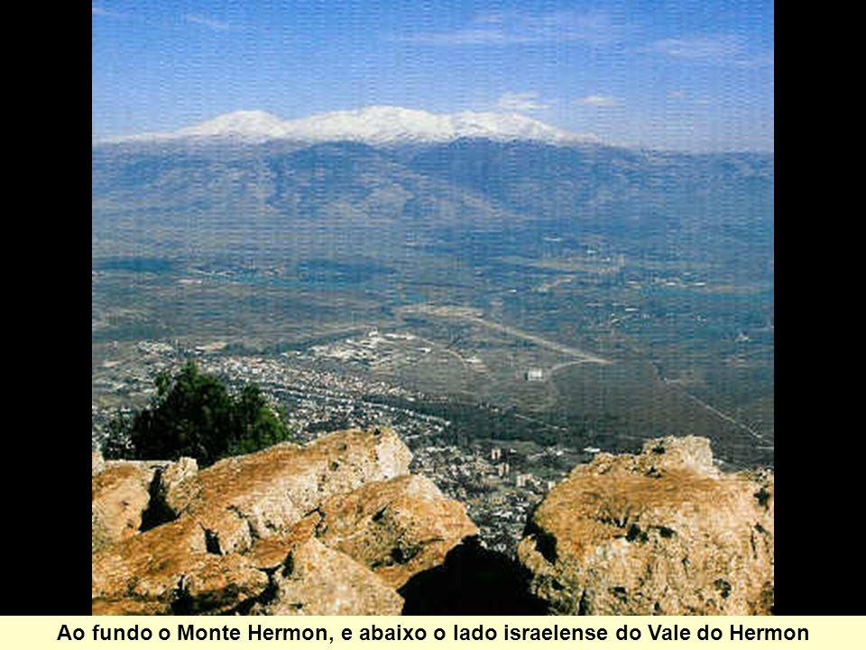 Ao fundo o Monte Hermon, e abaixo o lado israelense do Vale do Hermon